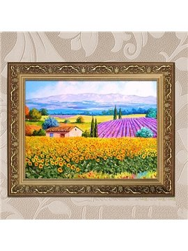 20×28in Flower Field Pattern Hanging Canvas Waterproof and Eco-friendly Golden Framed Prints