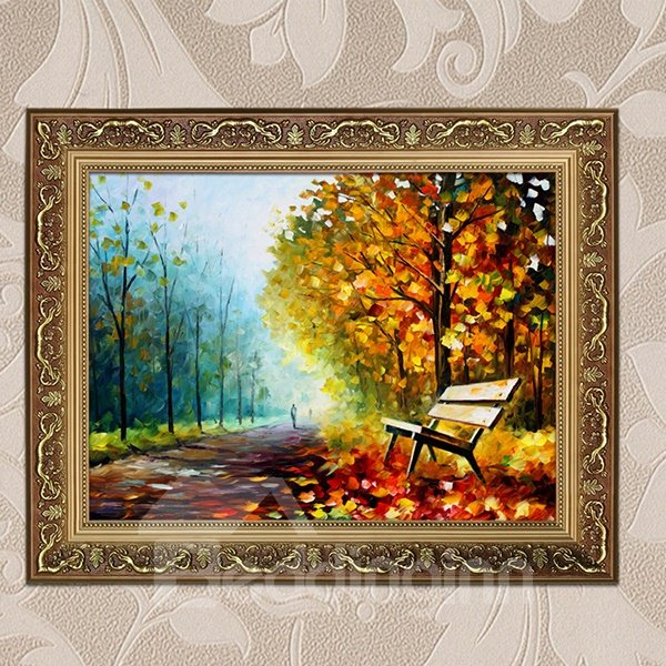 Modern Oil-Painting Peaceful Corner of Park 1-Panel Framed Wall Art Prints