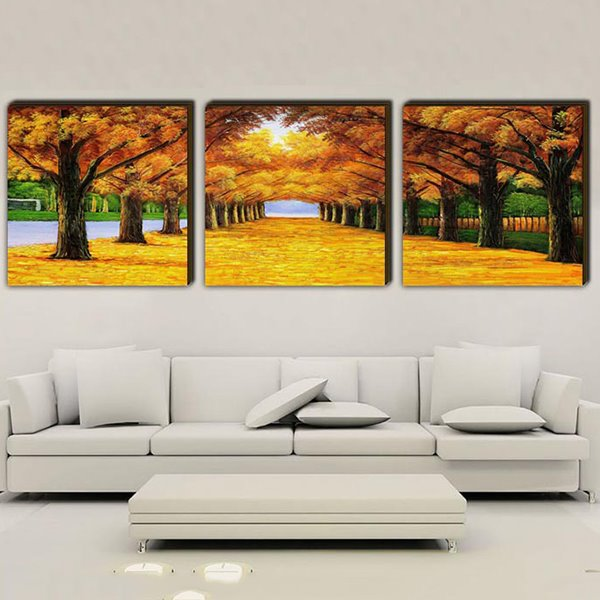 16×16in×3 Panels Golden Leaves Hanging Canvas Art Waterproof and Eco-friendly Framed Prints
