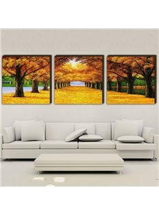 Fantastic Walk of Golden Tree Leaves 3-Panel Frameless Wall Art Prints