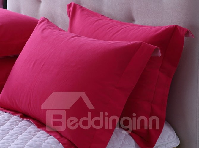 Rosy Pink Color Joint Cotton 4-Piece Duvet Cover Sets