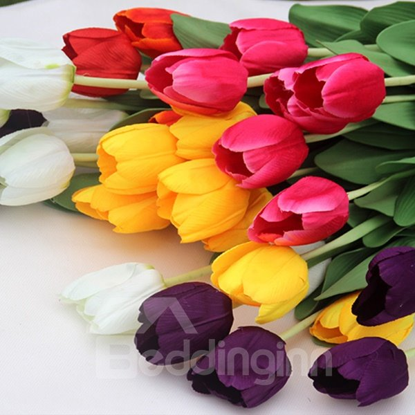 Gorgeous Decorative 5-Color Tulip 10-Piece Artificial Flowers