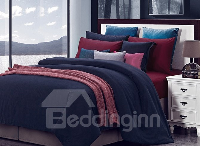 Royal Blue Wine Red Joint-color 4-Piece Duvet Cover Sets