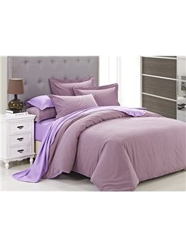 Zipper Design Graceful Solid Pink 4-Piece Duvet Cover Sets