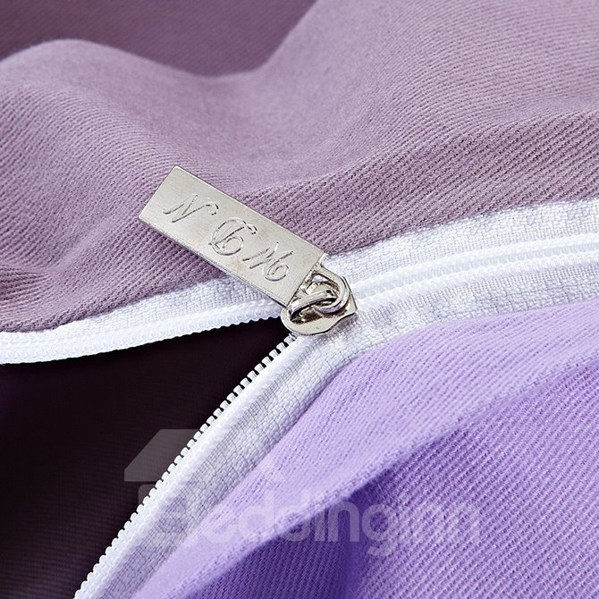 Zipper Design Graceful Solid Pink 4-Piece Duvet Cover Sets