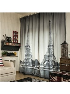 Great Scenic Spot Print Double Pinch Pleat Curtain