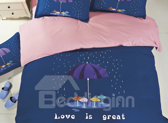 Umbrella Pattern Family Love 4-Piece Duvet Cover Set