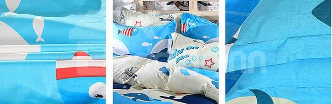 Sea World Cute Little Sharks Pattern Kids Cotton Duvet Cover Set