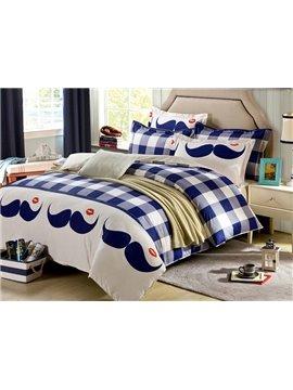 Plaid Pattern and Mustache Design 4-Piece Duvet Cover Set