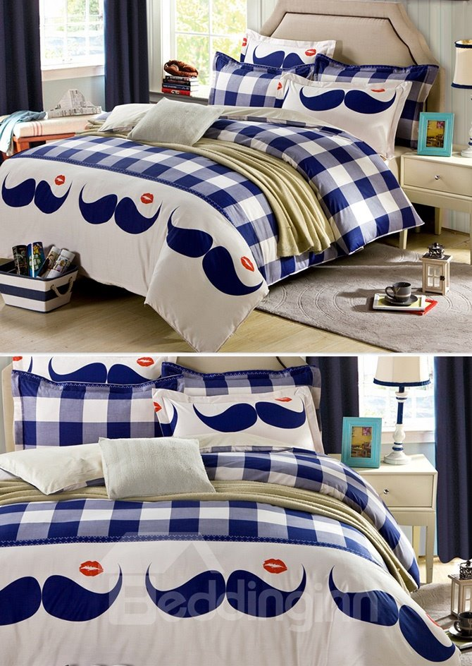 Plaid Pattern and Mustache Design 4-Piece Duvet Cover Set