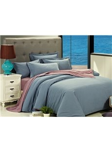 Concise Solid-colored 100% Cotton 4-Piece Duvet Cover Sets