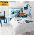 Super Cute High Quality Trucks Pattern 3-Piece Duvet Cover Set