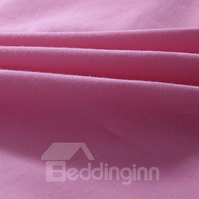 Adorable Pure Pink 100% Cotton 4-Piece Duvet Cover Sets