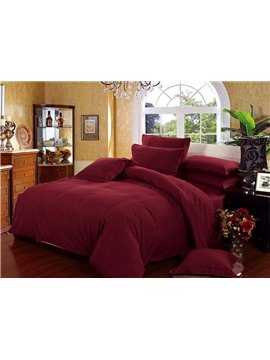 Luxury Solid Wine Red Classy 4-Piece Cotton Duvet Cover Sets