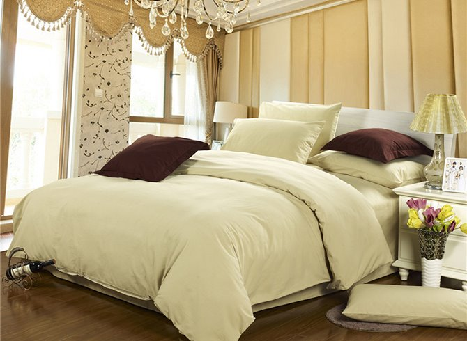 Fancy Pure Beige 4-Piece Cotton Duvet Cover Sets