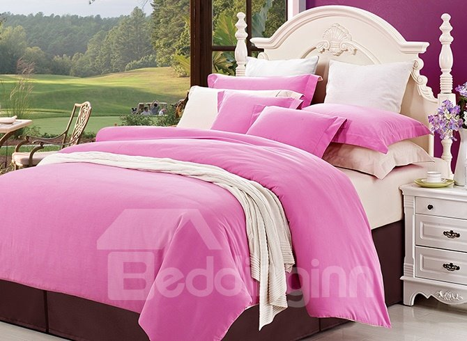 Solid-colored Super Lovely Pink 4-Piece Cotton Duvet Cover Sets