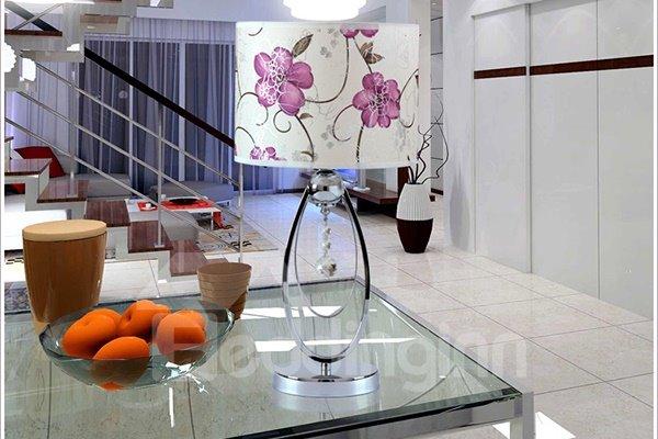 Modern Romantic Flower Pattern 1-Light Table Bedside Lamp