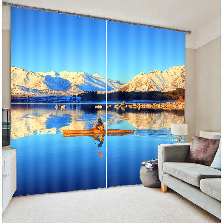 3D Rolling Mountains and Clean Lake with Blue Sky Printed Custom Living Room Curtain