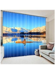 High Quality Sea Boat Print 3D Blackout Curtain