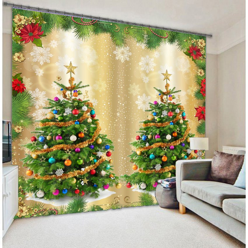3d Wonderful Christmas Trees Printed Polyester Modern