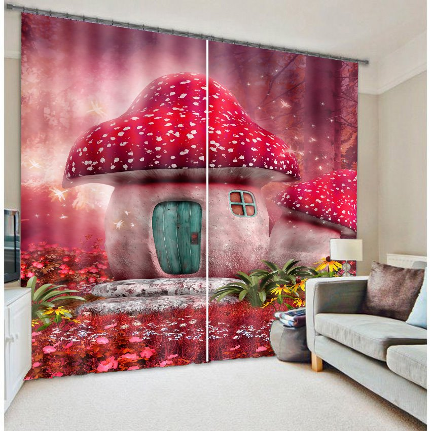 3D Lovely Red Mushrooms in Dreamy Forest Printed Decorative and Blackout Baby