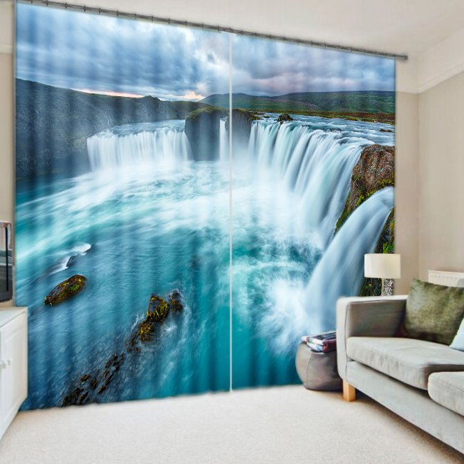 3D Impetuous Waterfall Printed Nature Scenery Thick Polyester Custom Curtain