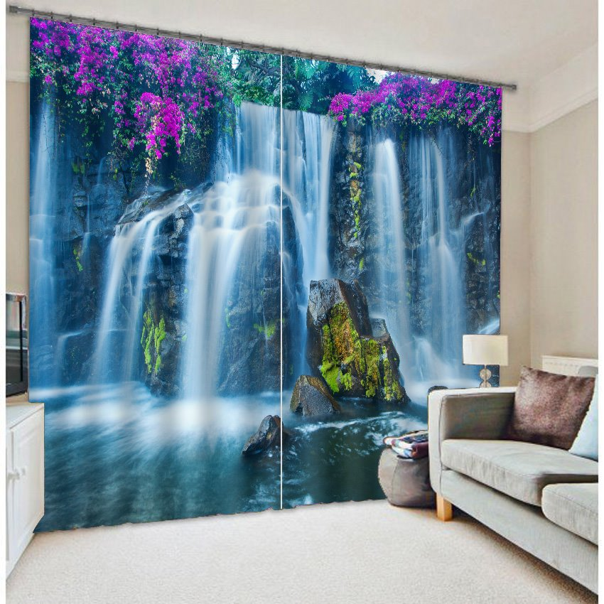 3d Wonderful Waterfalls With Purple Flowers Printed