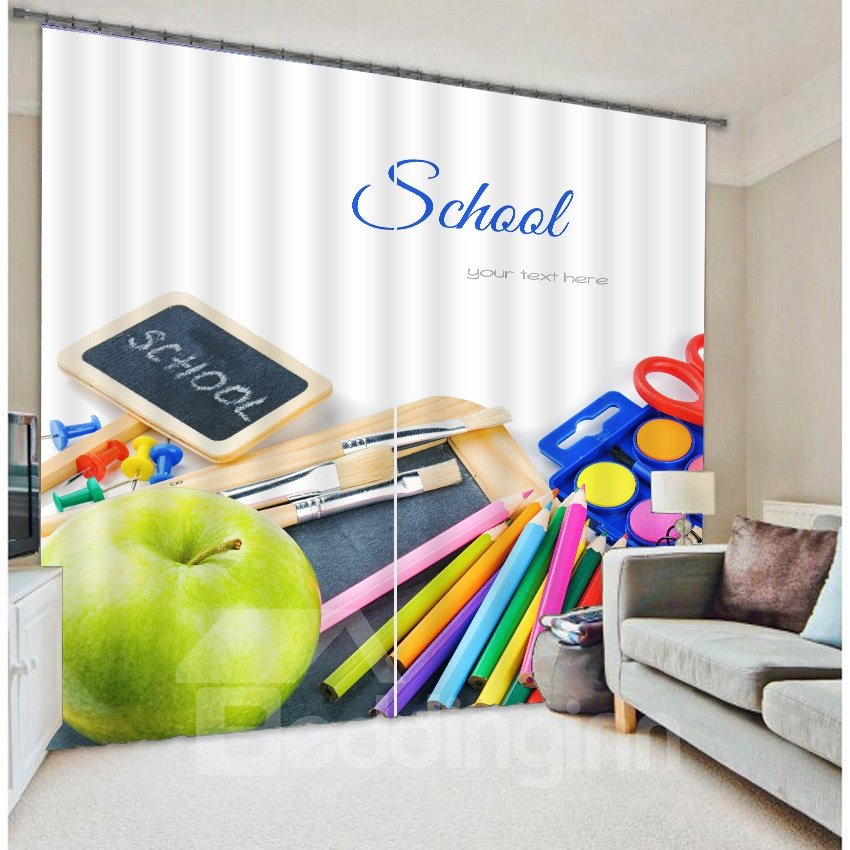 School Stationery Print 3D Blackout Curtain