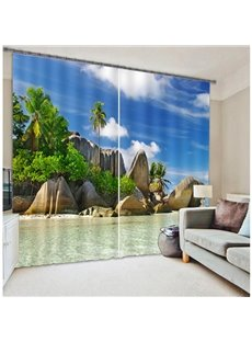 Beautiful Seaside 3D Scenery Light Blocking Curtain
