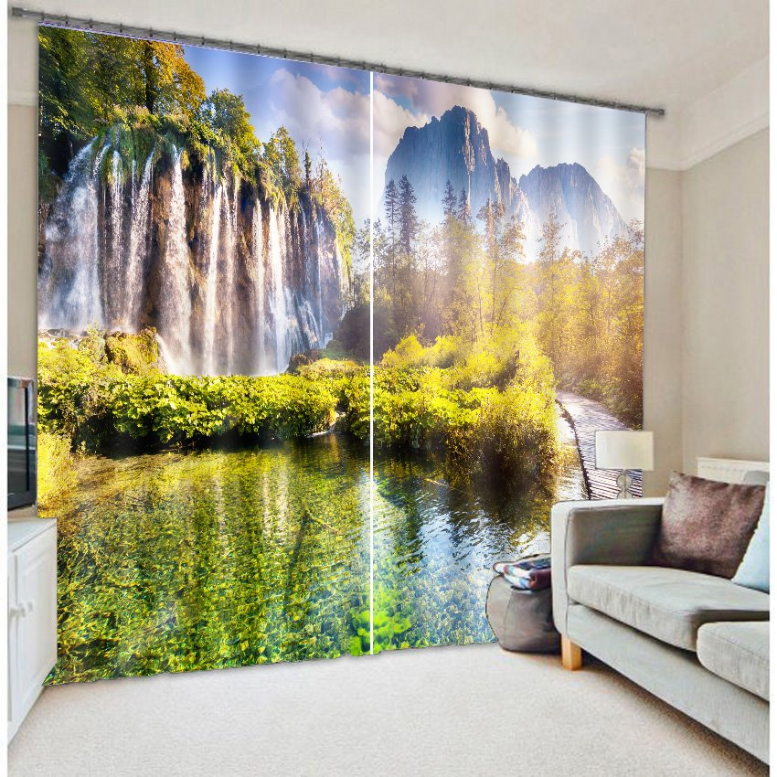Splendid Mountains and River with Trees Nature Scenery Printing Custom 3D Curtain