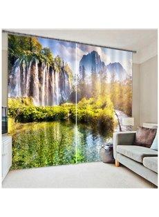 Splendid Waterfall Nature Scenery Printing 3D Curtain