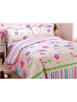 Beautiful Flower Pattern Cotton Kids 4-Piece Duvet Cover Set