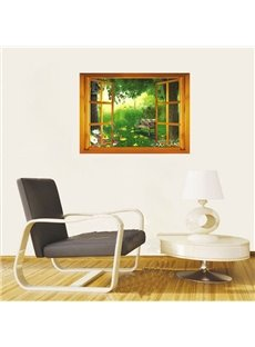 Fairy World of Green Window View Removable 3D Wall Sticker