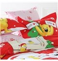 Cute Christmas Snowman Bear Print 4-Piece Duvet Cover Sets