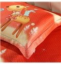 Cartoon Elk Christmas Gift Print 4-Piece Duvet Cover Sets