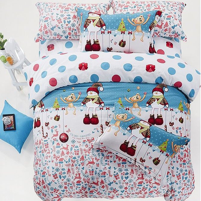 Lovely Snowman Christmas Gift Print 4-Piece Cotton Duvet Cover Sets