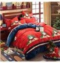 Santa Claus & Christmas Tree Print 4-Piece Duvet Cover Sets