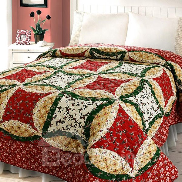 Pastoral Style Small Flowers Print Queen Size Quilt