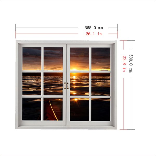 Amazing Sunset in the Seawater Window View Removable 3D Wall Sticker