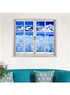 The Snowy Arctic Landscape Window View Removable 3D Wall Sticker
