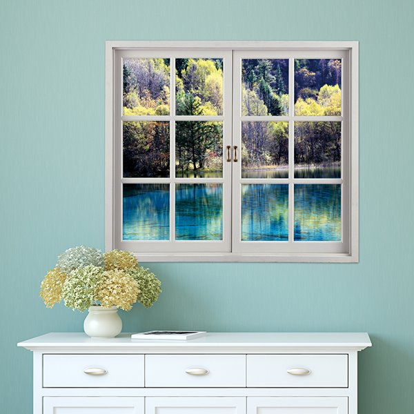 Trees Surrounding Blue Lake Window-Shaped 3D Waterproof Wall Sticker