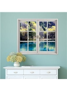 Natural Scenery Lake in Forest Window View Removable 3D Wall Sticker