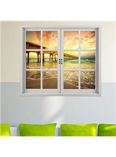 Marvelous Bridge in Sunset Window View 3D Wall Sticker