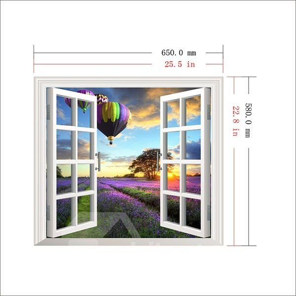 Air Balloons Over Lavender Field Window View Removable 3D Wall Sticker