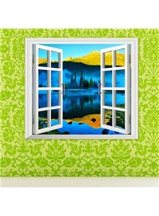 Beautiful Lake Natural Scenery Window View Removable 3D Wall Sticker