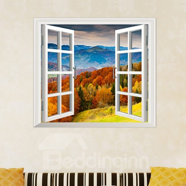 Rolling Mountains Stretching to the Horizon Window View Removable 3D Wall Sticker