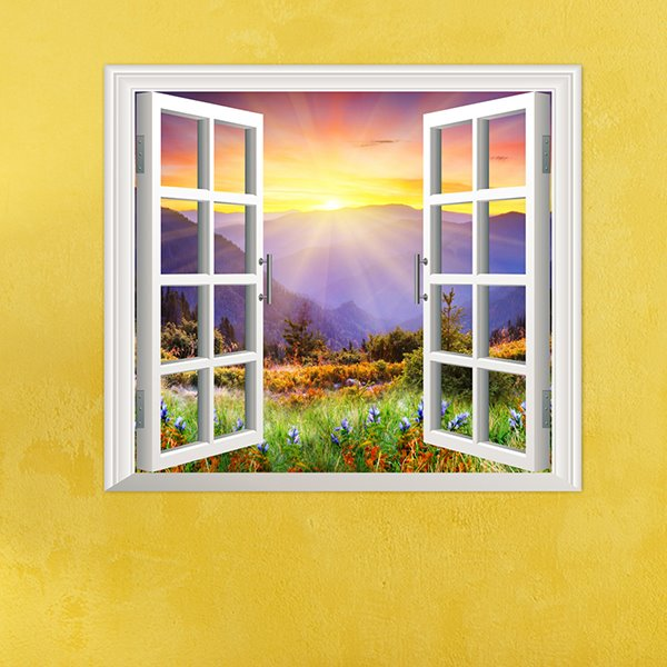 Sunrise in Floral Valley Window View PVC Waterproof and Removable 3D Wall Sticker