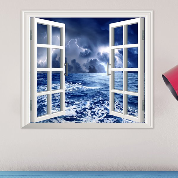 25.5×22.8in Blue Stormy Sky and Sea 3D Window Wall Sticker