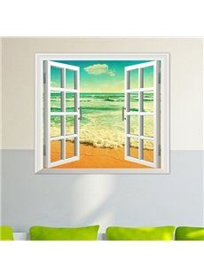 Gorgeous Seaside Blue Sky Window View 3D Wall Sticker