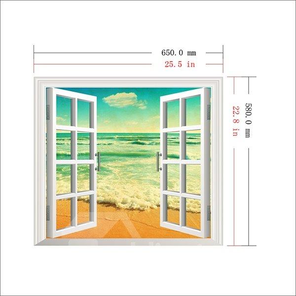 Gorgeous Seaside Blue Sky Window View 3D Wall Sticker